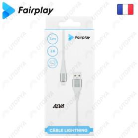 Cable USB vers Lightning 2A Fairplay ALVA 1M Blanc