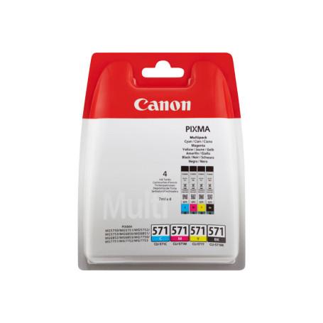 Cartouche Canon CLI 571 C/M/Y/BK Pack 3 Couleurs + 1 Noir