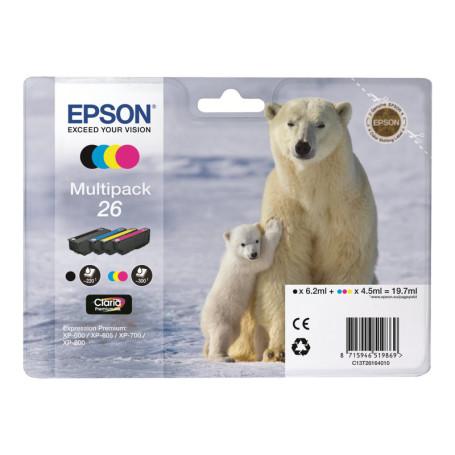 Cartouche Epson 26 Noir + 3 Couleurs XP-510/520/600/620/625/720/800