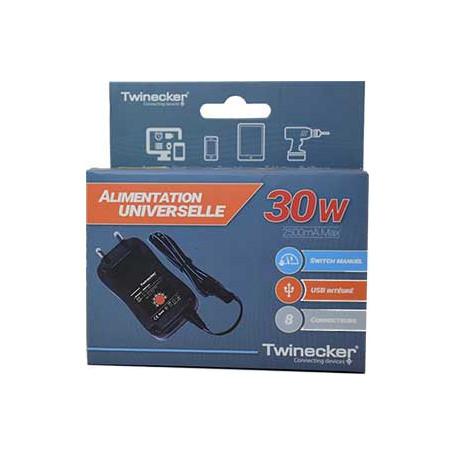 Adaptateur d'alimentation Twinecker 149961 220V vers 3V-12V 2.5A 8emb