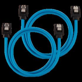 2x Câbles Corsair gainé Premium SATA 6Gbps 60 cm Bleu