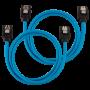 2x Câbles Corsair gainé Premium SATA 6Gbps 60 cm Bleu NSATACO-60-B-D - 1