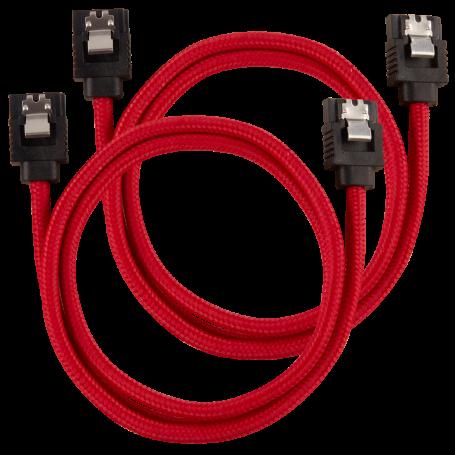 2x Câbles Corsair gainé Premium SATA 6Gbps 60 cm Rouge NSATACO-60-R-D - 2