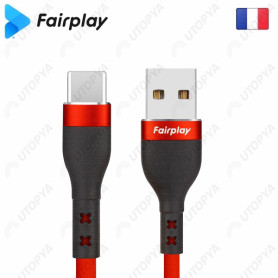 Cable USB vers Type-C 3A Fairplay 1M Rouge LIRIO