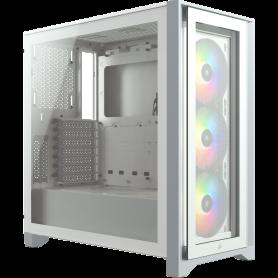 Boitier Corsair iCUE 4000X RGB Tempered Blanc ATX USB 3.1 Type C BTCO4000X-RGB-WH - 1