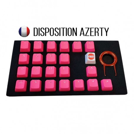 Keycaps DoubleShot TaiHao Neon Pink 22 Touches Grip Gomme CLTHFR022C03PK101 - 1