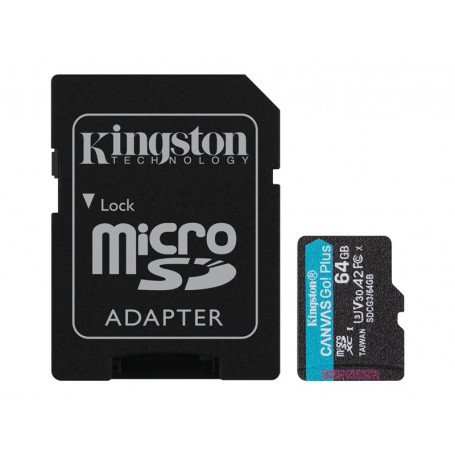 Mémoire Micro SDXC 64Go Kingston Canvas Go Plus A2/V30/UHS-I U3 MEMMSD064_K_SDCG3 - 1