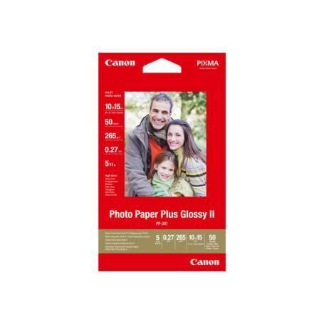 50 x Canon Photo Paper Plus Glossy II PP-201 10x15 102x152mm 265g/m2