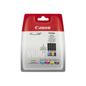 Cartouche Canon CLI 551 C/M/Y/BK Pack 3 Couleurs + 1 Noir
