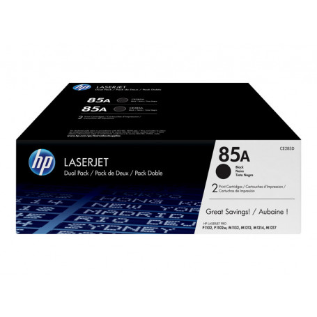 Pack 2x Toner HP 85A Noir CE285A 1600 pages TONERHP85A-X2 - 1