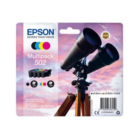 Pack Cartouche Epson 502 Noir + 3 Couleurs CARTEPT502MULTI - 1