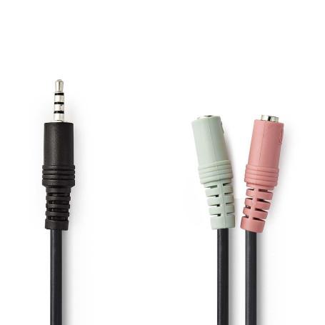 Cable Audio Jack 3.5mm Male vers 2 x Femelle 20cm