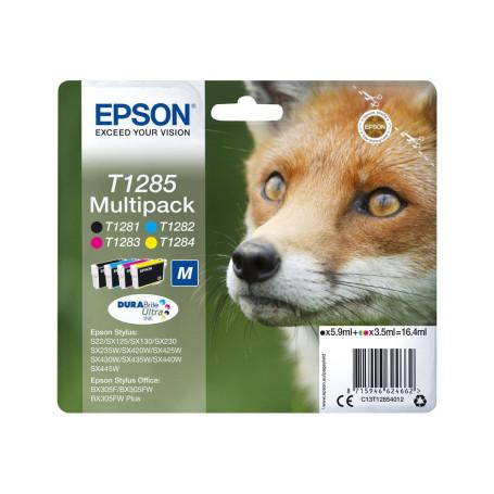 Cartouche Epson T1285 Noire + 3 Couleurs SX125/420W/425W/S22/BX305