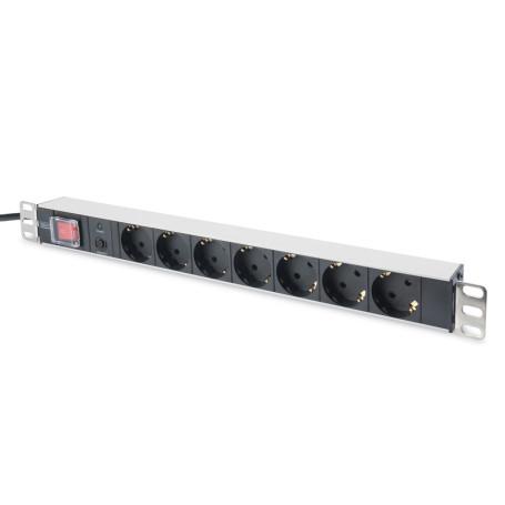 "Bloc 19"" 7 Prises Std interrupteur parasurtenseur Digitus DN-95403"