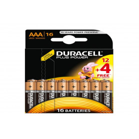 Pack 12+4 Piles DURACELL PLUS POWER AAA (LR03) 1.5V