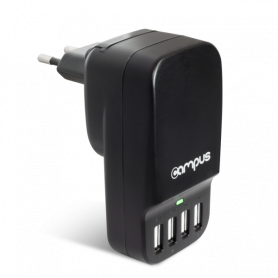 Chargeur Campus CH-T4U68 prise 220V vers 4x USB 5V 2x 2.4A + 2x 1A