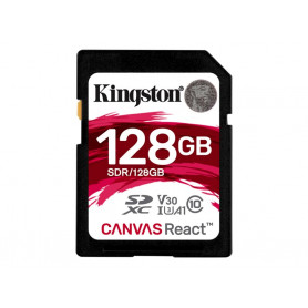 Mémoire SDXC 128Go Kingston Canvas React A1 V30 UHS-I U3 Class 10