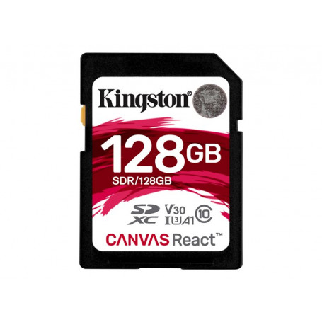 Mémoire SDXC 128Go Kingston Canvas React A1 V30 UHS-I U3 Class 10 MEMSD128_K_SDR - 1