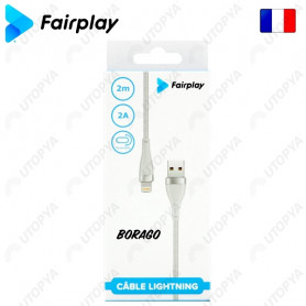 Cable USB vers Lightning 2A Fairplay 2M Blanc