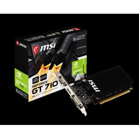 Carte Graphique MSI GT 710 2GD3H LP GT710 2Go DDR3 Silent Low Profile CVMS-GT7102GD3HLP - 1